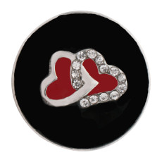 20MM loveheart sliver Plated with rhinestone and black enamel KC6558 snaps jewelry