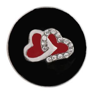 Astilla 20MM loveheart Plateada con diamantes de imitación y esmalte negro KC6558 broches de joyería