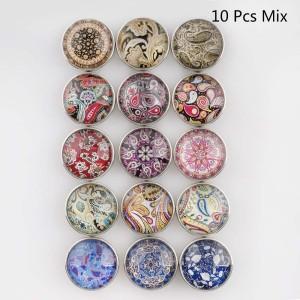 10pcs / lot botones a presión de vidrio Diseño MixMix 20MM Botones a presión 15 tipos en imagen Broches Joyería