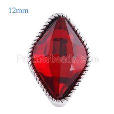 Broche de diamante 12MM Plateado plata antigua con cristal rojo facetado KS6088-S broches de joyería