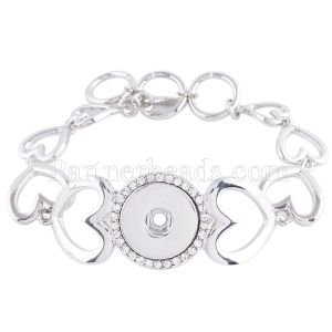 1 Buttons Snaps versilbertes Armband mit Strasssteinen passen zu Snaps Chunks KC0683