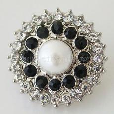 20MM Gear snap Silver Plated with White rhinestone and pearl KB8732 snaps jewelry