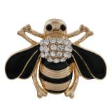 30MM bee snap chapado en oro con diamantes de imitación y esmalte KC9850 broches de joyería