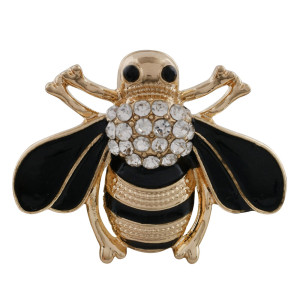 30MM bee snap gold plated with rhinestone and enamel KC9850 snaps jewelry