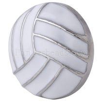 20MM Bouton pression pour volleyball Plaqué argent avec émail blanc KC6083 s'encliquette