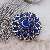 20MM round flower snap  Antique Silver Plated with deep blue rhinestone KC7084 snaps jewelry