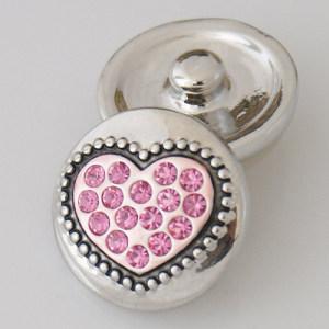 20MM valentine Loveheart snap Antik Silber Überzogen mit rosa Strass KB5024 schnappt Schmuck