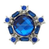 20MM Pentagon snap DS5164 plateado antiguo con joyería de broches intercambiables de diamantes de imitación azul