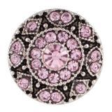 20MM broche redondo plateado antiguo plateado con diamantes de imitación rosa KC7075 broches de joyería