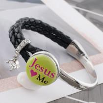 20MM Jesus green Painted enamel metal C5394 print snaps jewelry