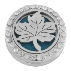 22mm weiße Legierung Ahornblätter Aromatherapie / Ätherisches Öl Diffusor Parfüm Medaillon Snap mit 1pc 15mm Scheiben als Geschenk
