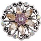 Diseño 20MM complemento chapado en plata antigua con diamantes de imitación multicolor KC8721 broches de joyería