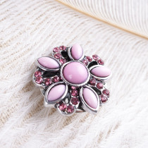 boutons pression en métal avec strass rose-rouge