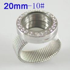 ANILLO de acero inoxidable tamaño 10 # con medallón flotante Diámetro 20mm