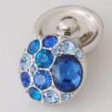 20MM Круглая защелка Античное серебро с голубым стразами KB5003 защелкивается ювелирные изделия