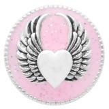 20MM Snap aile argenté avec émail rose KC6948 s'encliquette bijoux