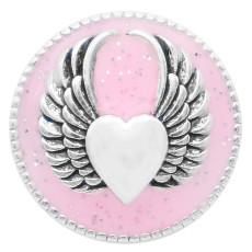 20MM Wing snap silver Chapado con esmalte rosa KC6948 broches de joyería