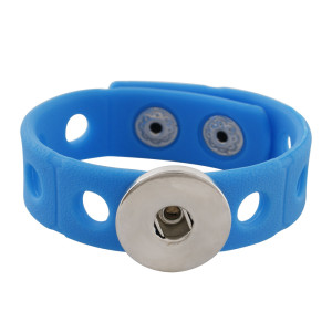 18cm kid junior style bracelet with 15mm width blue silicone stretch fit 20mm snap button