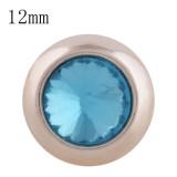 12MM bouton pression rond en or rose avec strass bleu clair KS9679-S s'enclenche les bijoux