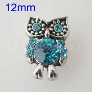 12MM Owl Snap Antik Silber Überzogen mit Strass KB1532-S Snaps Schmuck