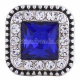 20MM Квадратная защелка Античное серебро с глубоким синим стразами KC6249 защелкивается ювелирные изделия