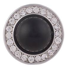 20MM Round snap Silver Plated with clear rhinestone and black small bead KB6059 snaps jewelry
