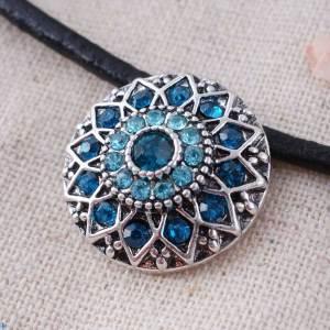 20MM flor redonda complemento Plateado plata antigua con diamantes de imitación cian KC7083 broches de joyería