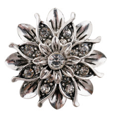 20MM Flower snap silver Plated with white Rhinestones KC7657 snaps jewerly