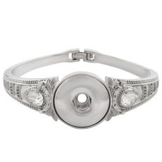 Bracelet en métal de haute qualité avec strass 6 * 5.5CM fit 18 & 20MM s'enclenche des morceaux 1 boutons s'enclenche Bijoux