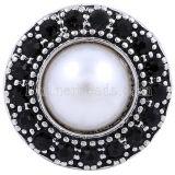 20MM broche redondo plateado con diamantes de imitación negros y perlas KC8637 joyería de broches intercambiables