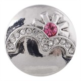 20MM sunlight snap silver plated with rose Rhinestone KC5492 snaps jewelry