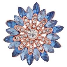 20MM design snap Rose-Gold Plated with blue Rhinestones KC8929 snaps jewelry