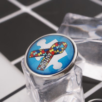 20MM snap glass Awareness Autism C1024 interchangeable snaps jewelry