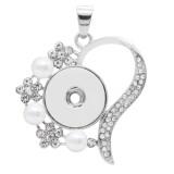 snap sliver Pendentif avec strass blanc et perle fit 20MM s'enclenche style bijoux KC0462