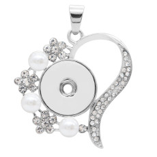 snap sliver Pendant with White rhinestone and Pearl fit 20MM snaps style jewelry KC0462