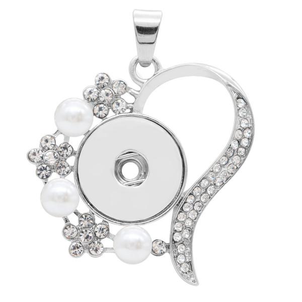 colgante de plata con diamantes de imitación blancos y perlas en forma 20MM broches estilo joyería KC0462