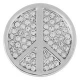 20MM Signo de la paz complemento Plata antigua plateada con diamantes de imitación KB5016 broches de joyería