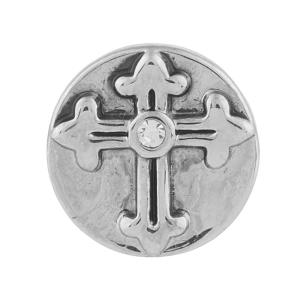 12MM Cross snap Antique Silver Plated with rhinestone KB5504-S snaps jewelry