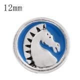 12mm Pferd Klein mit blauen Emaille-Druckknöpfen für Schmuckstücke
