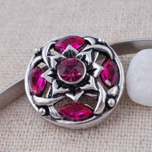 20MM design snap Antique Silver Plated with rose-red  Rhinestone KC8697