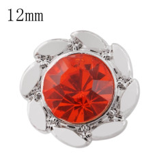 12mm design Small size snaps with red Rhinestone for chunks jewelry