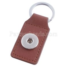 Brown pu leater fashion Keychain  buttons fit snaps chunks KC1123 Snaps Jewelry