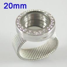 Нержавеющая сталь RING Mix6-10 # размер с Dia 20mm Круглый плавающий шарм медальон серебристого цвета
