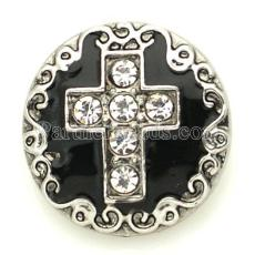 20mm cross snap with rhinestone and black enamel KB8885 snaps jewelry Black