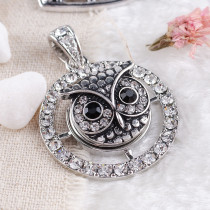 20MM Owl snap Antique Silver Plated with white  rhinestone KB8152 snaps jewelry