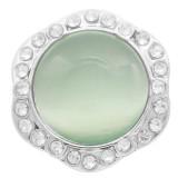 Diseño 20MM snap Chapado con diamantes de imitación el ojo de gato verde KC7886 encaja joyas