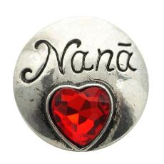 20MM Nana / mother snap Plateado de plata antiguo con cristal de sección rojo KB8922 broches de joyería