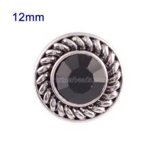 12mm Small size snaps with black Rhinestone for chunks jewelry
