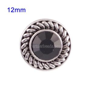 Broches 12mm de tamaño pequeño con diamantes de imitación negros para joyas en trozos