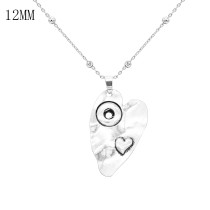 A loving heart head silver pendant Necklace with 60CM chain KS1240-S fit 12MM chunks snaps jewelry